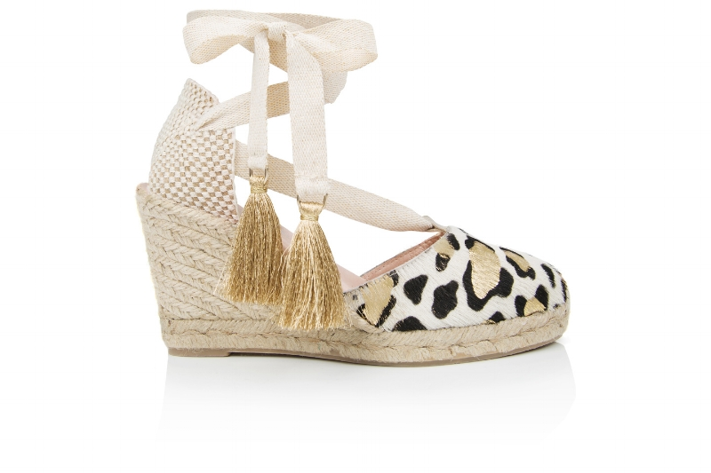 Shimmie espadrille wedge in Gold Leopard