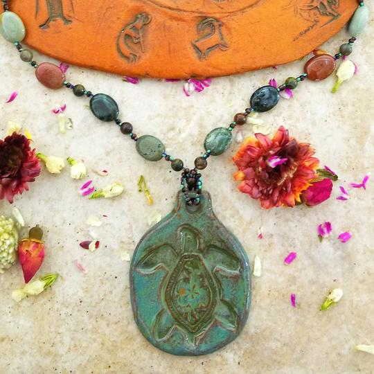 Handcrafted Ceramic Turtle Pendant and Beaded Necklace