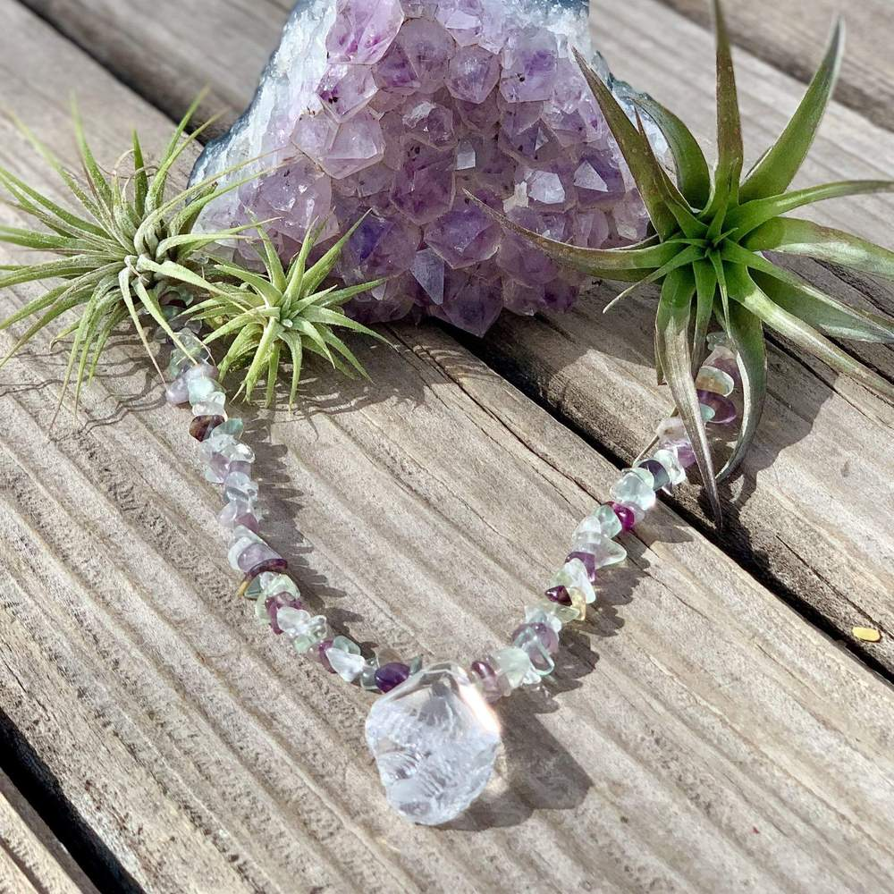 Clear Quartz Necklace with Fluorite crystals
