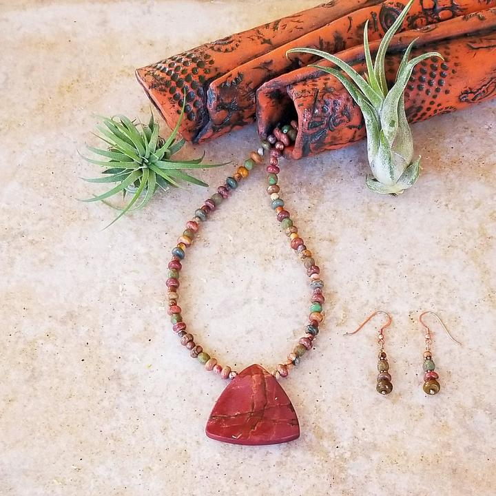 Red Jasper necklace and earrings set