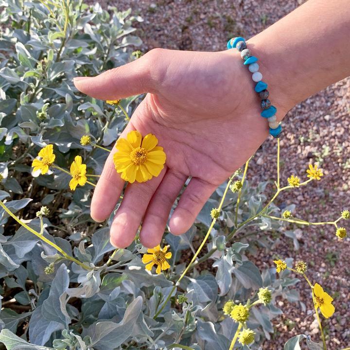 Blue agate, Amazonite, Turquoise healing crystals bracelet