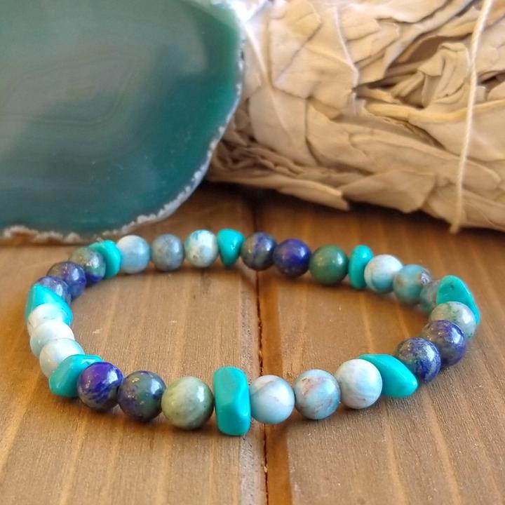 Chrysocolla, Apatite, Turquoise healing stones bracelet