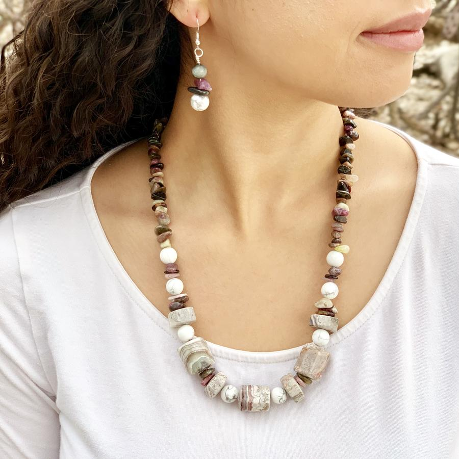 Howlite, Agate, Jasper Necklace and Earrings Set