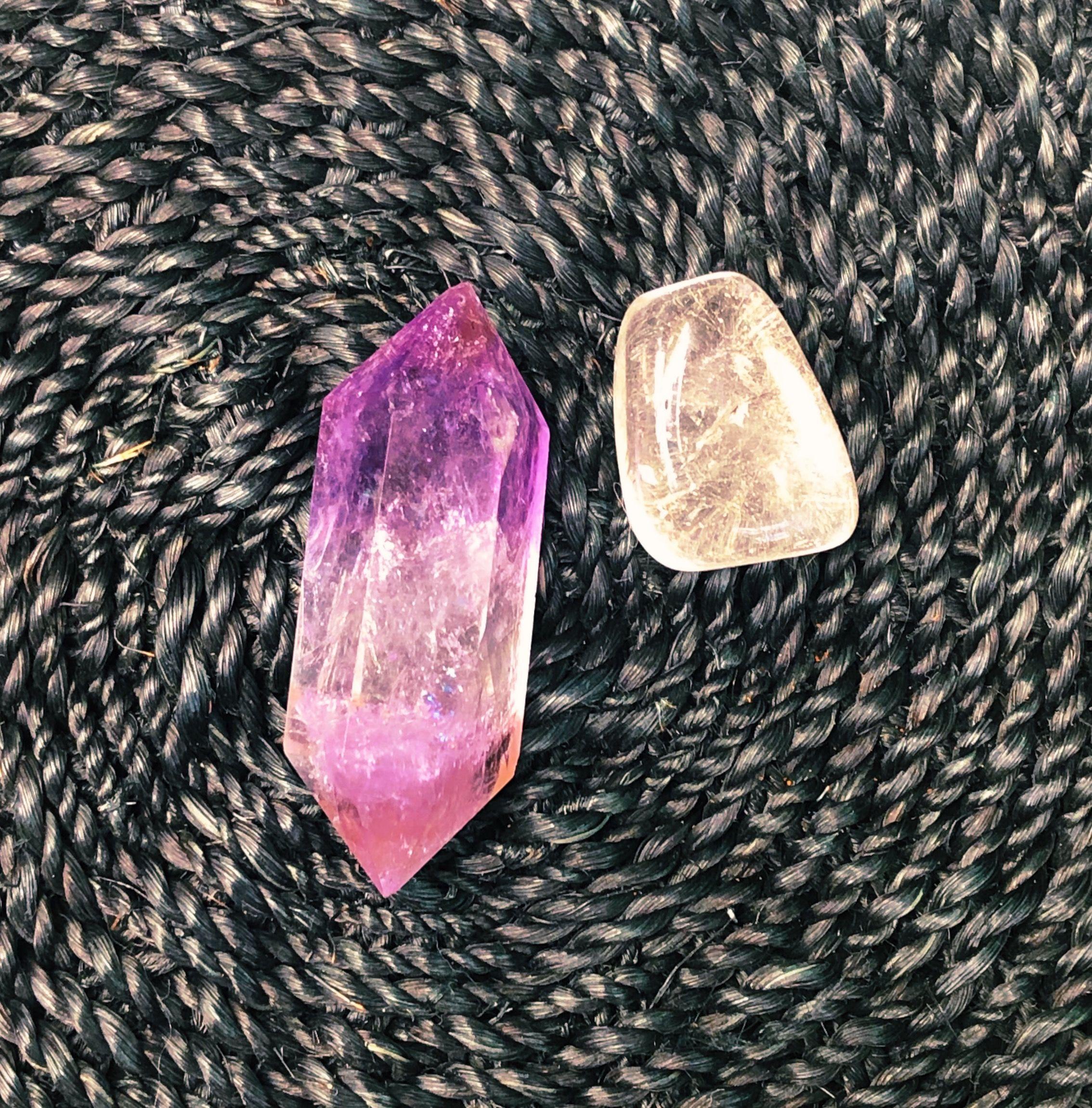 amethyst and clear quartz crystals