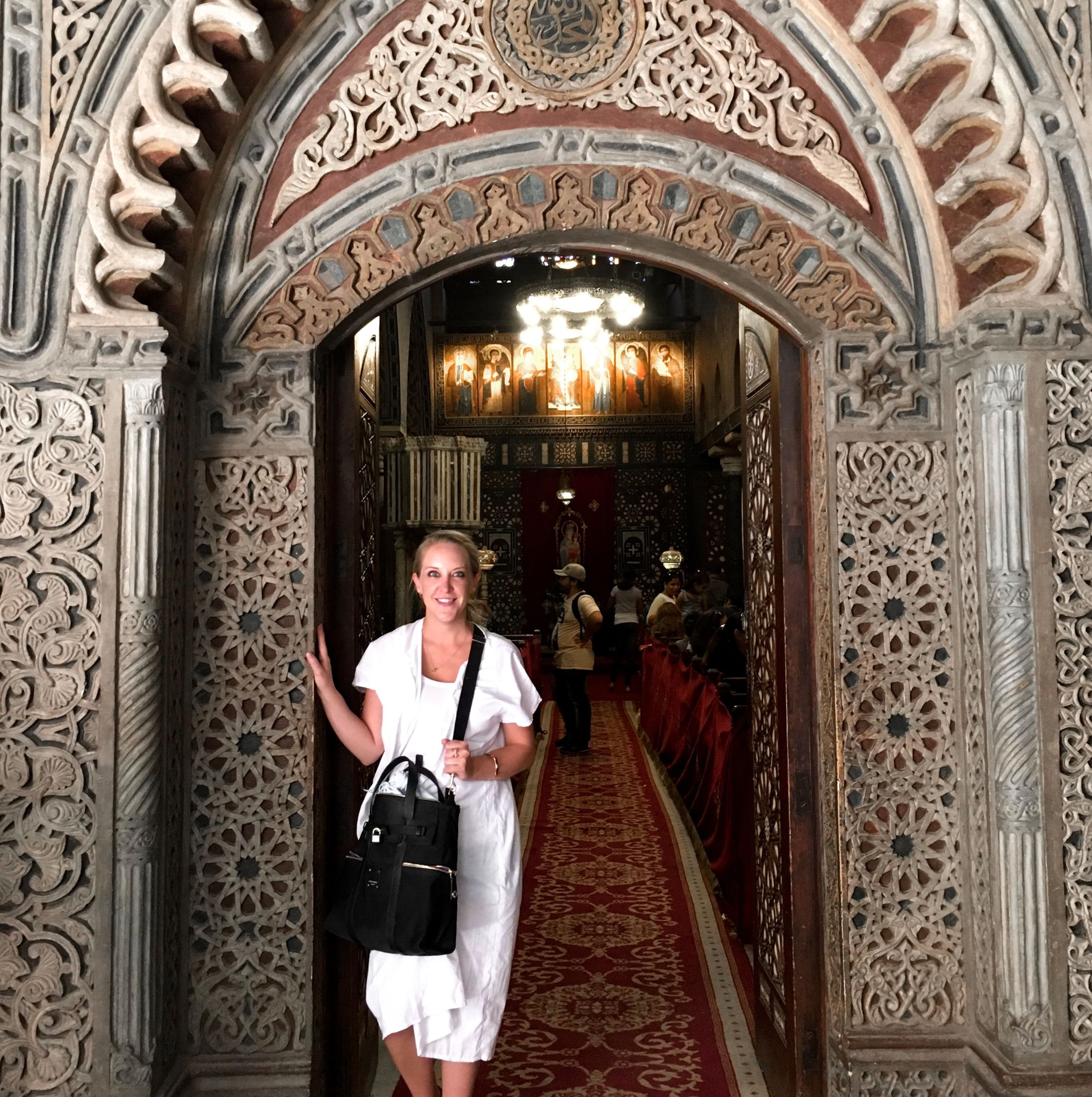 Anuket Luxury Apothecary founder Ashlee Dozier at The Hanging Church in Cairo, Egypt