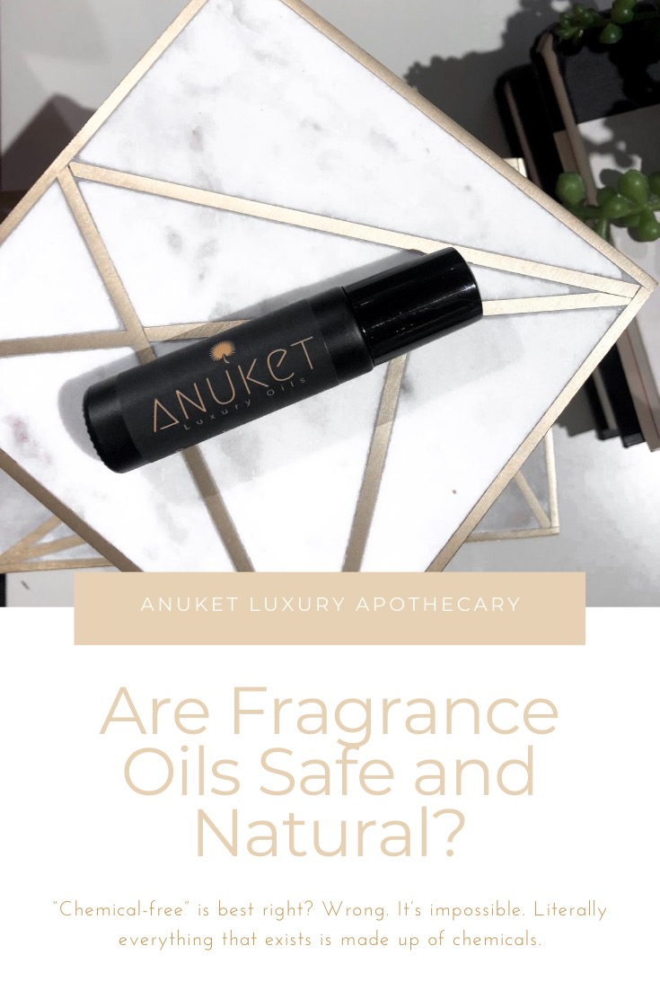 """Graphic linking to Pinterest with a fragrance roller ball on a marble and gold table, titled """"Are Fragrance Oils Safe and Natural."""""""