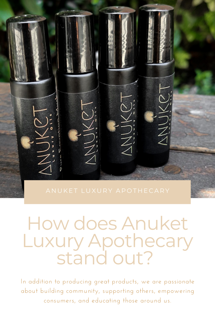 "Graphic linking to Pinterest with four black matte rollerball fragrances standing side by side and text below asking ""How Does Anuket Luxury Apothecary Stand Out?"""