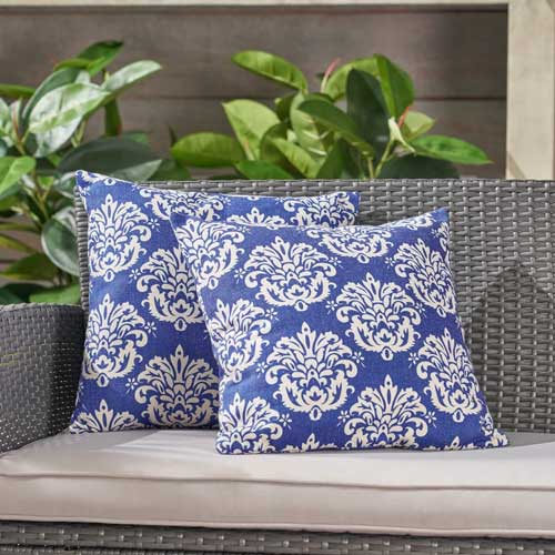 Damask Blue Outdoor throw pillow - affiliate link