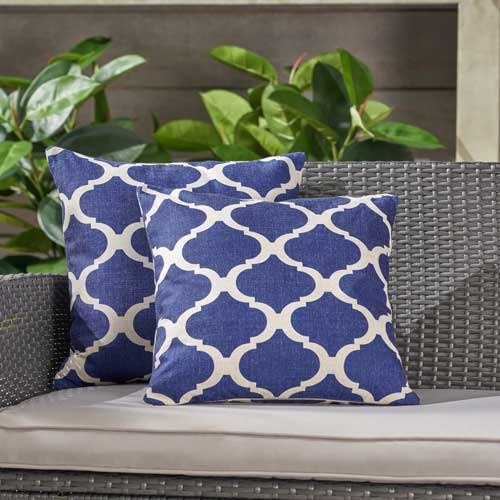 Classic blue outdoor throw pillow - affiliate link