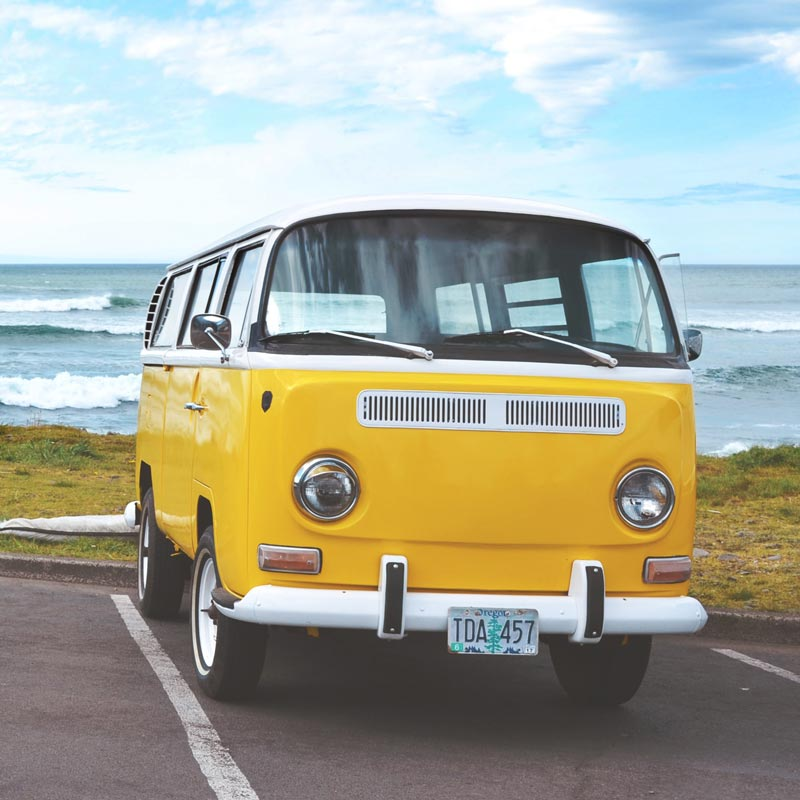 Tropical Color home decor ideas with yellow color palette featuring yellow Volkswagen Van by Nick Baker