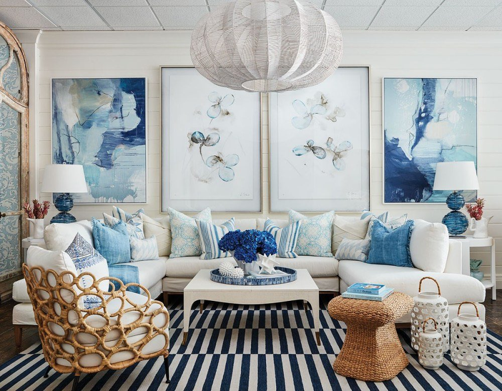 Coastal color palette with dark blue and navy color scheme home decor