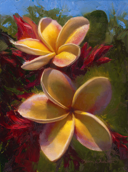 Tropical painting of Hawaiian flowers hibiscus plant on canvas by Hawaii artist Karen Whitworth