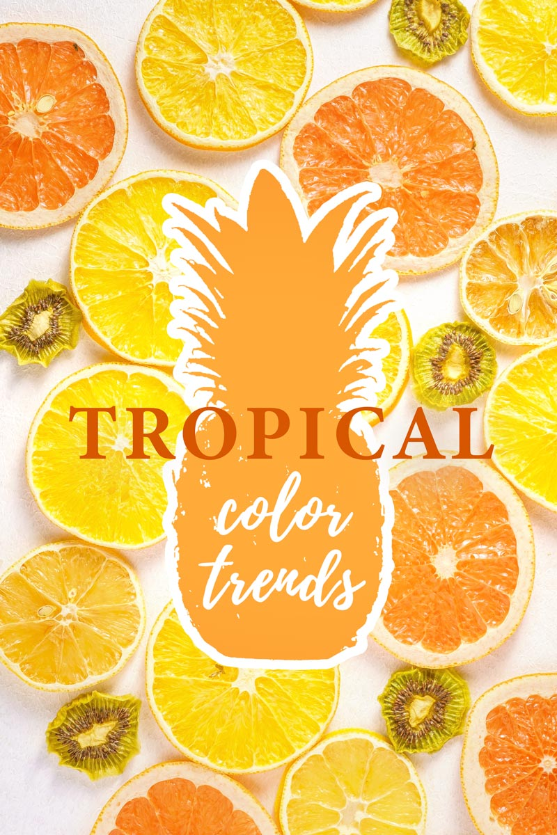 Tropical home decor ideas with warm color palettes inspired by yellow and orange citrus fruit