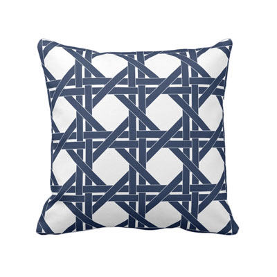 Classic blue and white basket weave print throw pillow - affiliate link