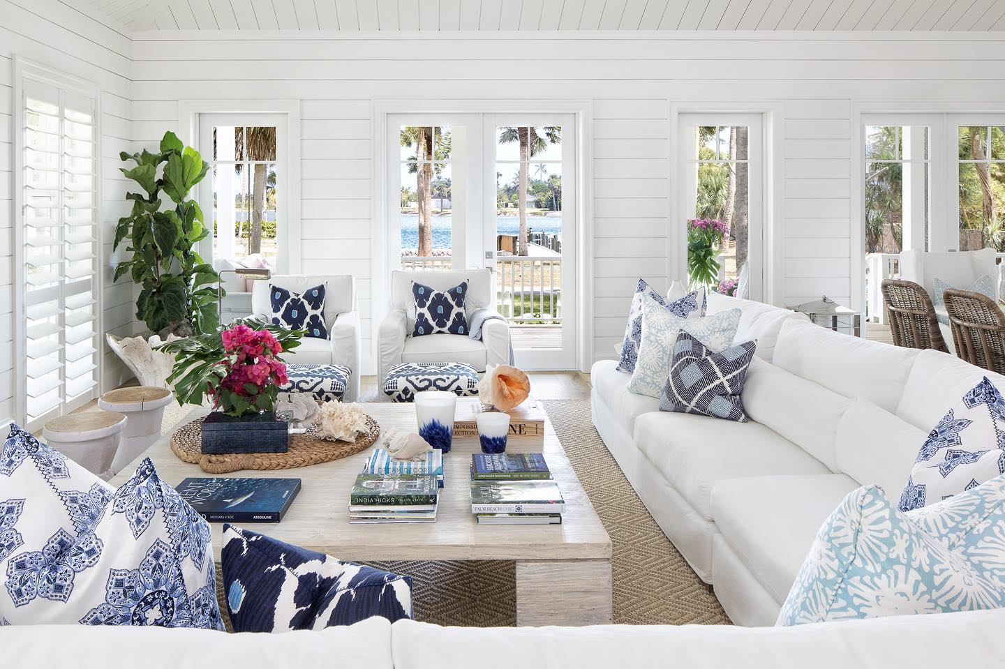 Beach house home decor in coastal white and classic blue color palette