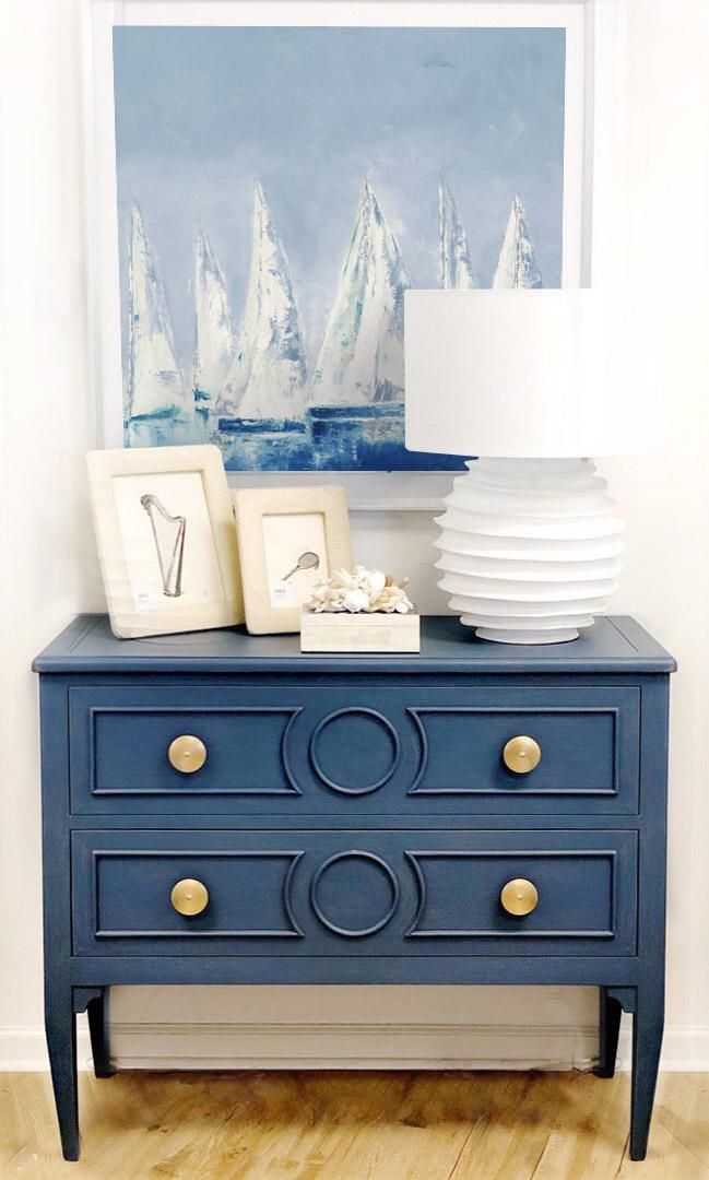Classic blue color scheme home decor with dark blue color palette