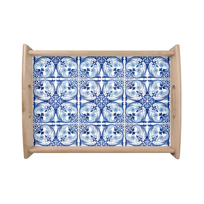 Click to view this Portuguese tile serving tray with classic blue color palette - affiliate link