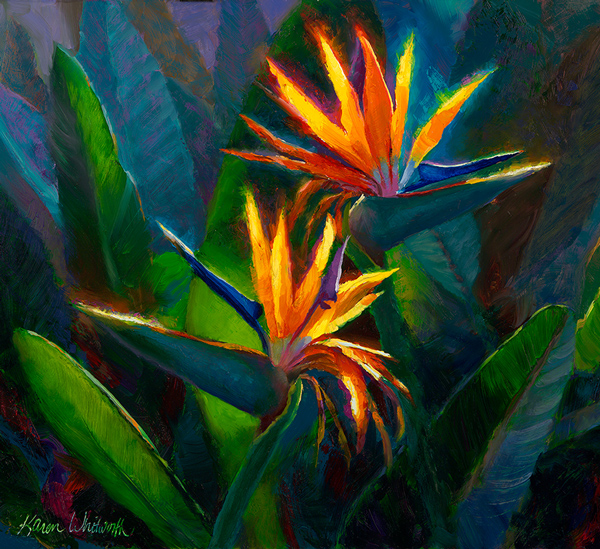 Orange bird of paradise painting of tropical Hawaiian flowers canvas wall art by Hawaii artist Karen Whitworth