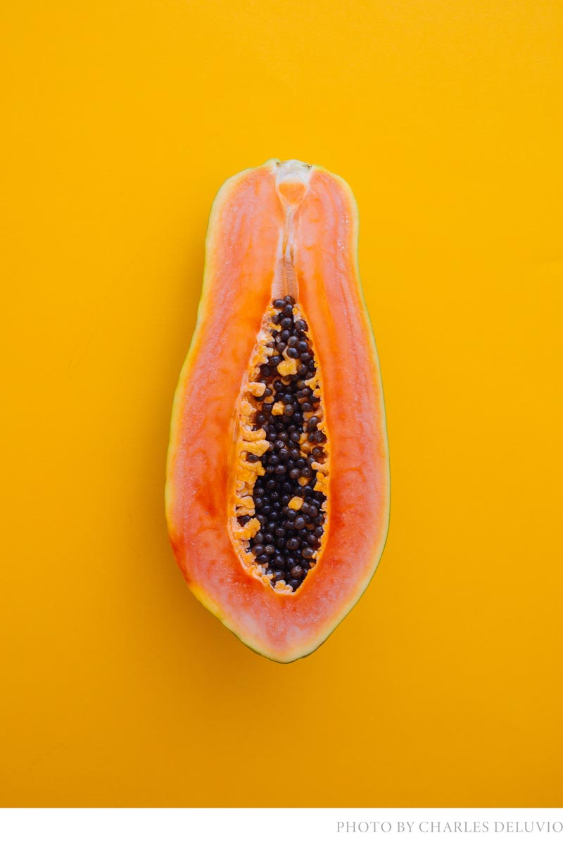 tropical home decor ideas and warm color trends with orange fruit