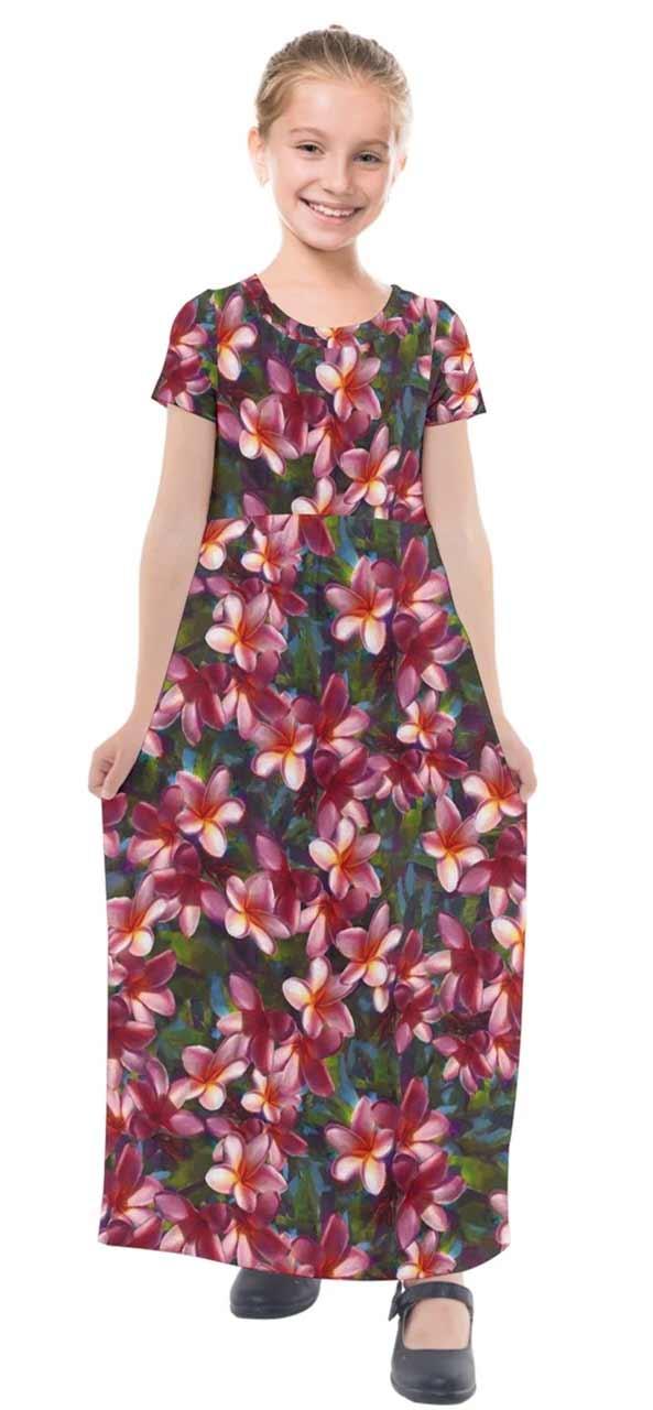 Hawaiian Flower Dress For Girls