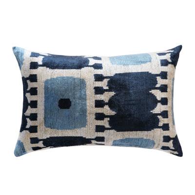 Classic blue coastal decor silk lumbar pillow