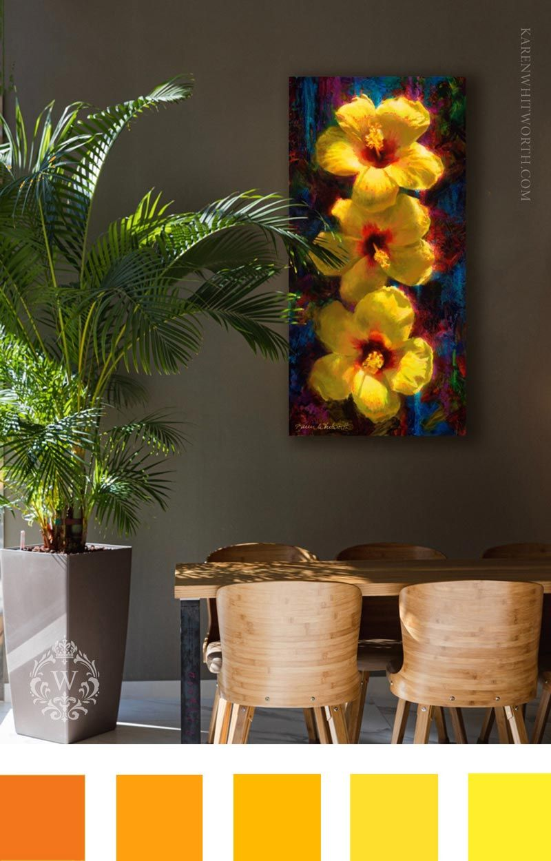 Tropical home decor ideas with warm yellow color palette with Hawaiian Hibiscus flower and home interior with palm tree