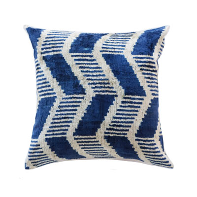 Classic blue silk graphic accent throw pillow - affiliate link
