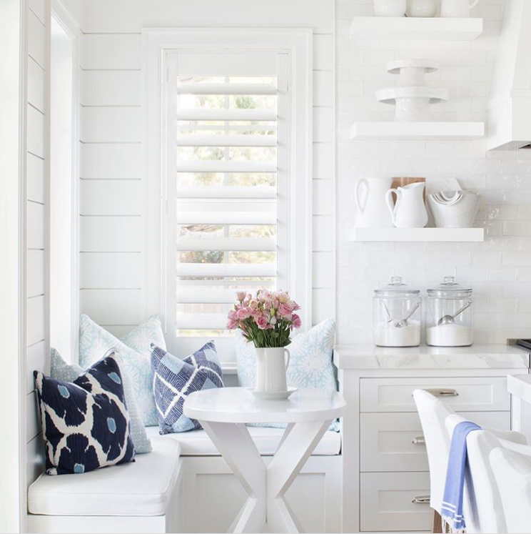 Coastal cottage home decor with white and blue color scheme