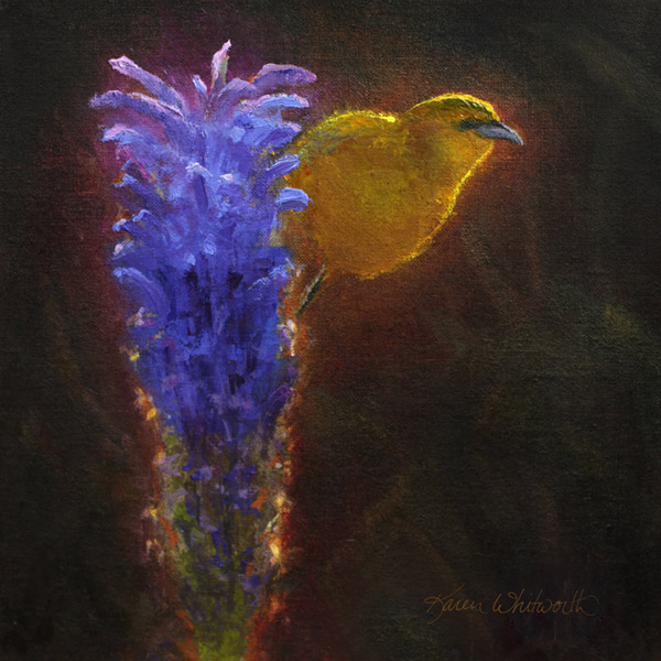 Hawaiian flowers painting of Haleakala Lobelia and Amakihi bird by Hawaii artist Karen Whitworth