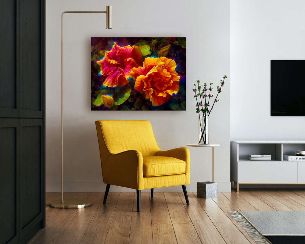 Tropical home decor ideas with Hawaii Hibiscus Flower wall art canvas and yellow accent chair with contemporary interior design