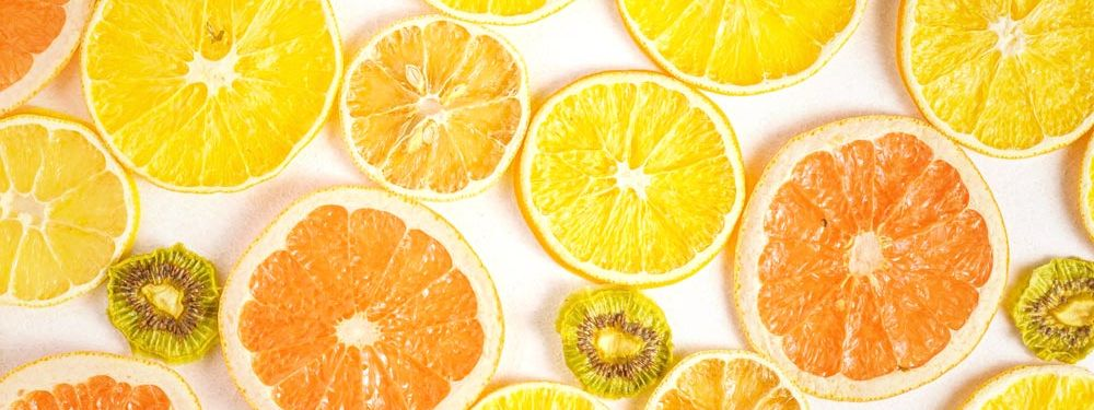 Tropical home decor ideas color palette with yellow and orange citrus fruit