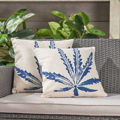 Palm tree blue outdoor throw pillow - affiliate link