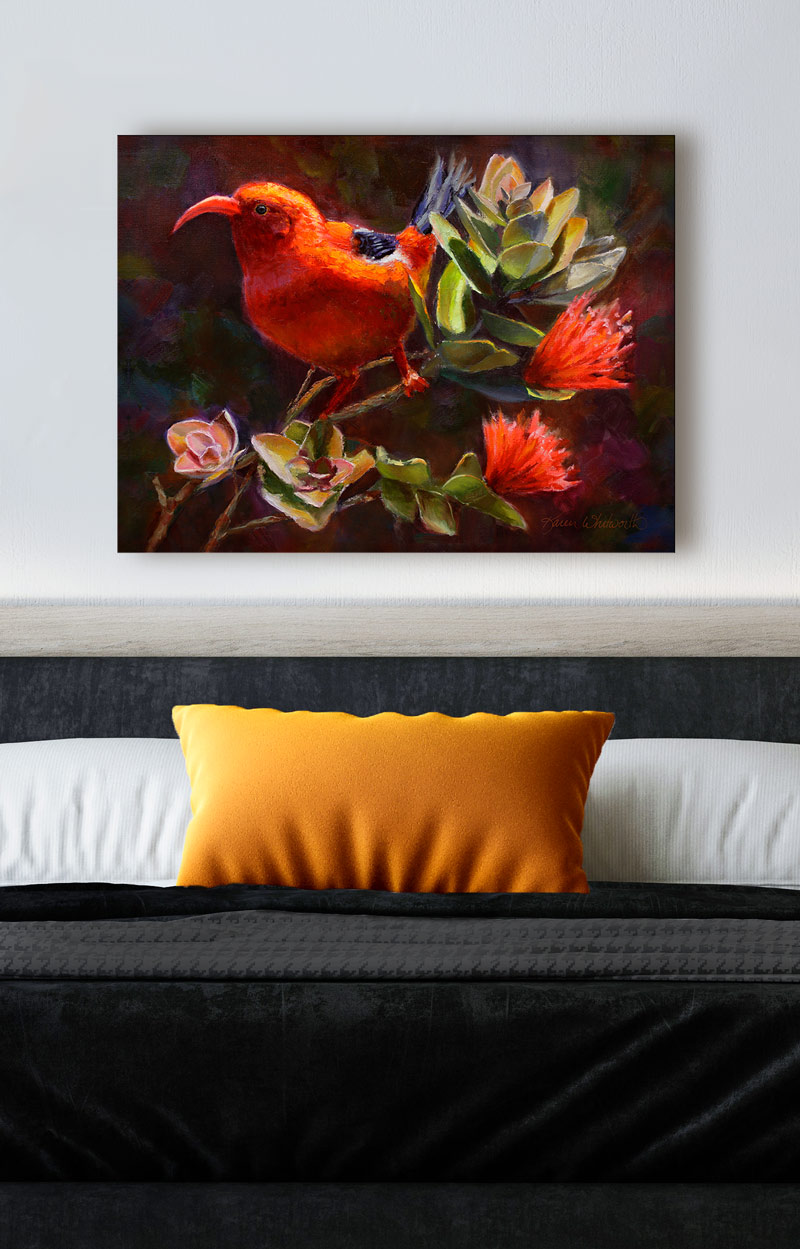 Hawaiian painting of tropical Ohia Lehua flowers and I'iwi bird by Hawaii artist Karen Whitworth