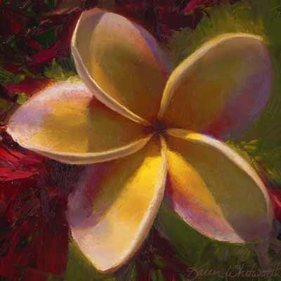 Hawaiian Flower Painting of Tropical Plumeria Plant by Karen Whitworth