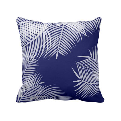 Tropical Palms white and classic blue throw pillow - affiliate link