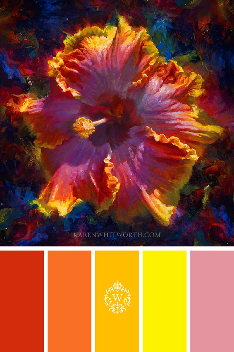 tropical color home decor ideas with Hawaiian Hibiscus wall art and warm color palette