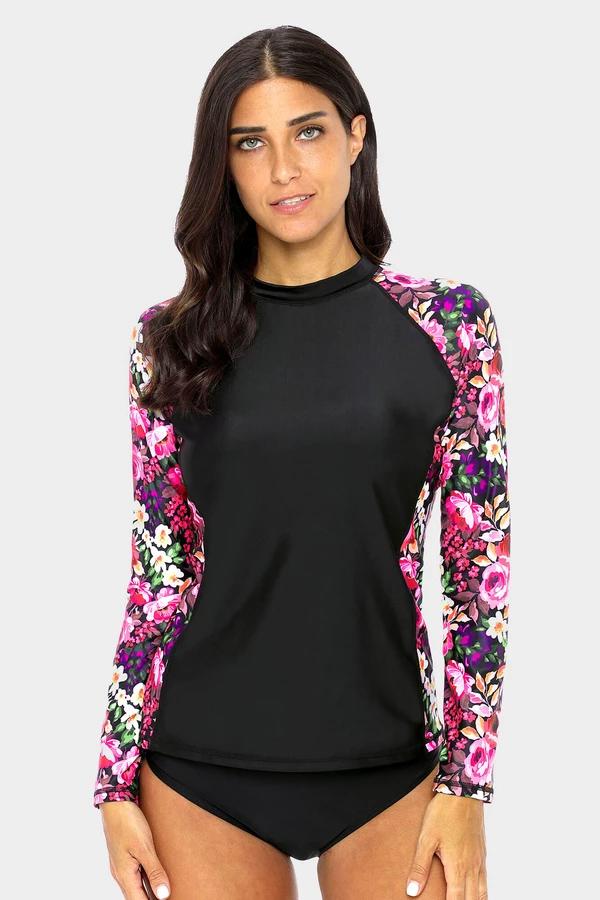 womens-floral-long-sleeve-rashguard black