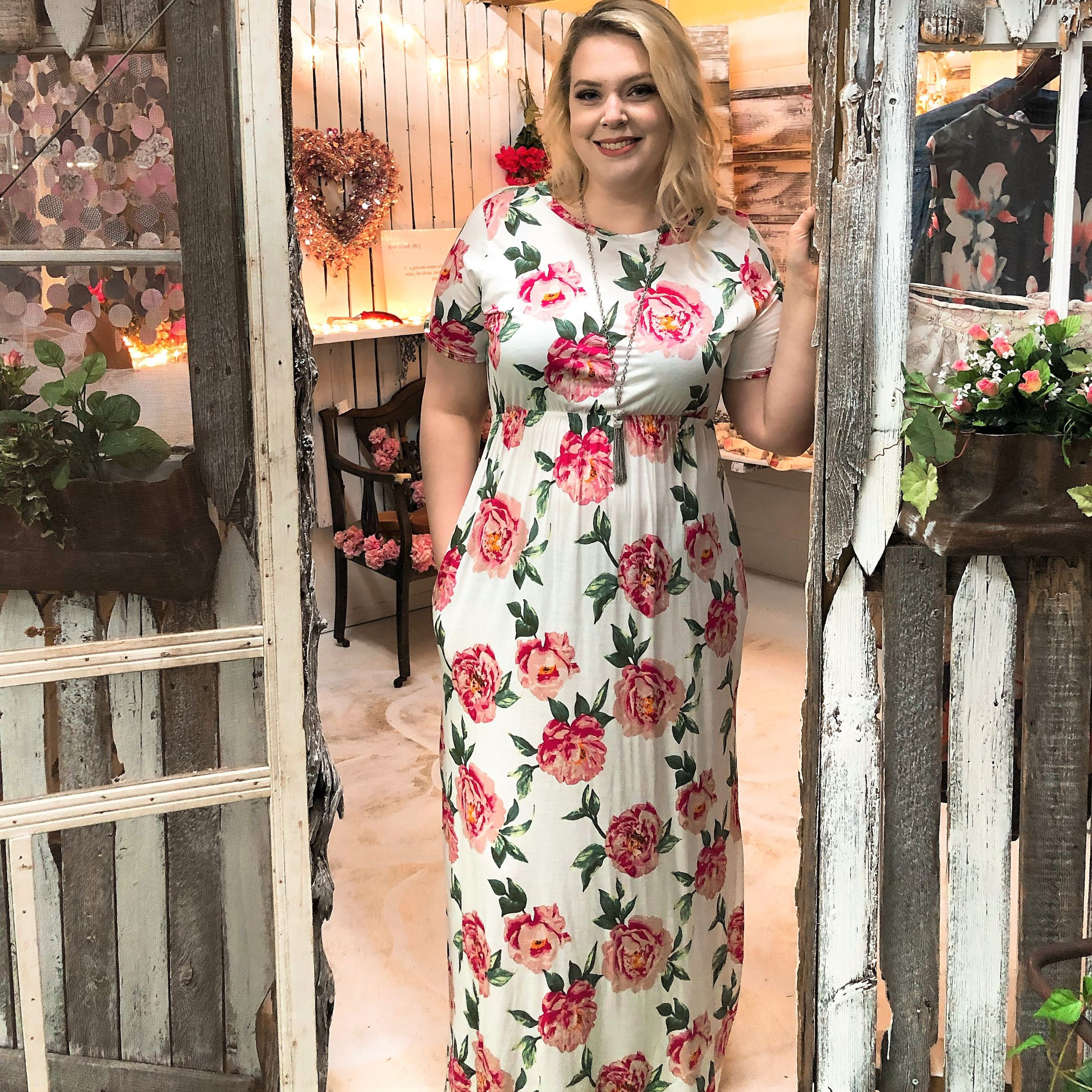 floral maxi plus size dress with pockets