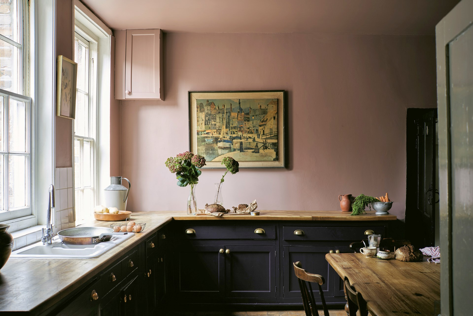 Painting kitchen cabinets from Farrow and Ball