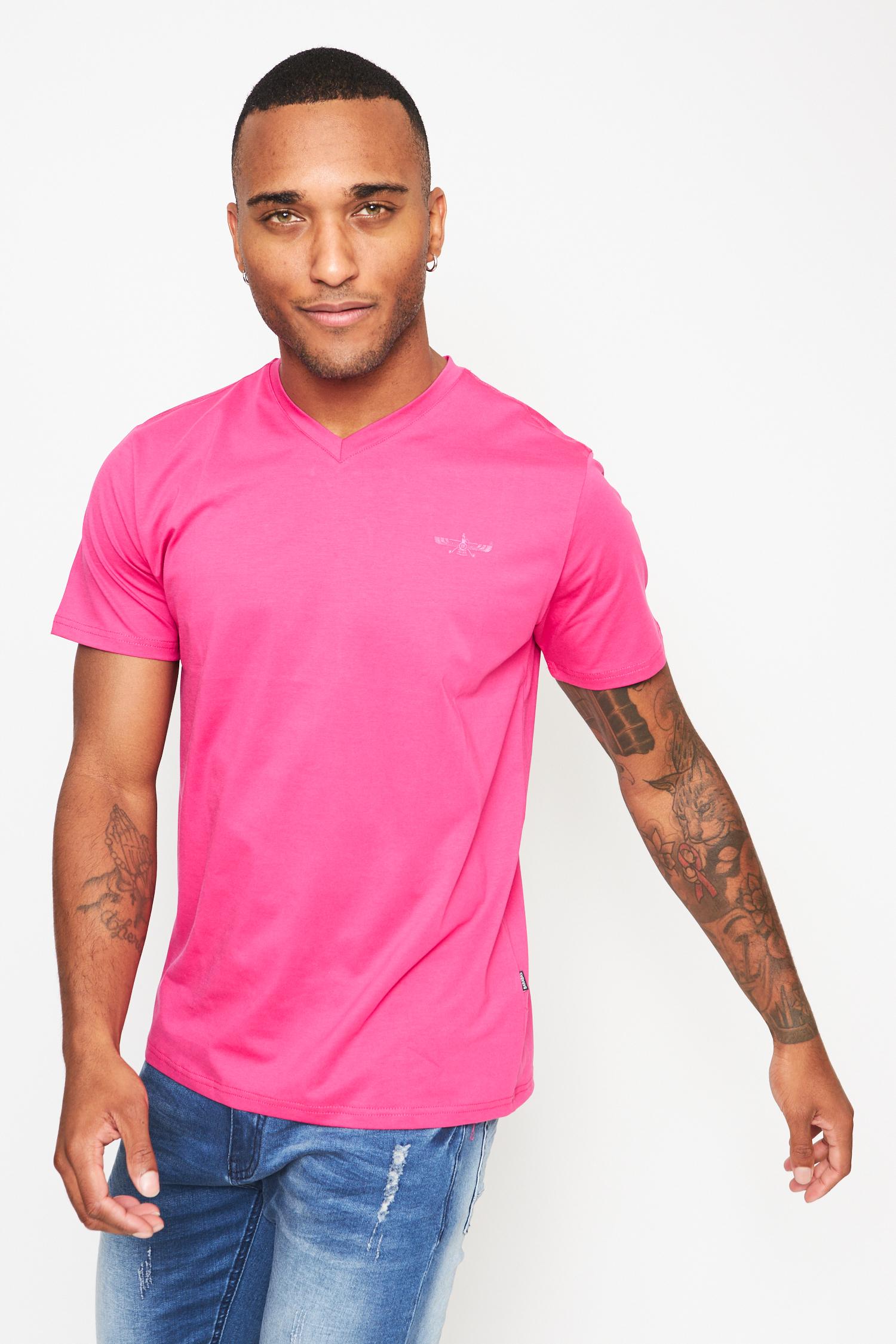 everyday basics pink  v neck  t-shirt
