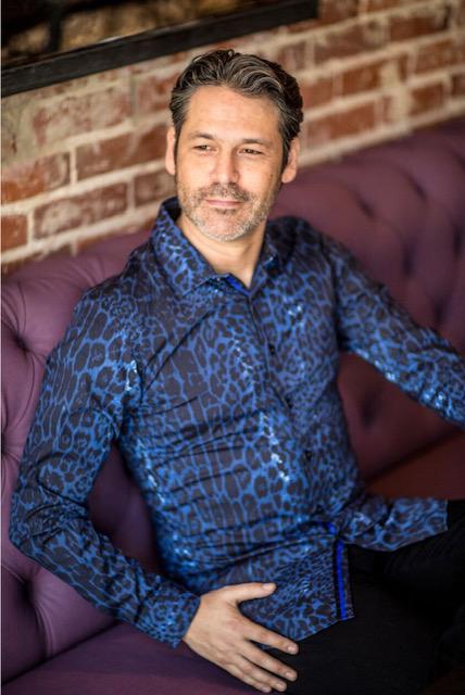blue leopard printed shirt
