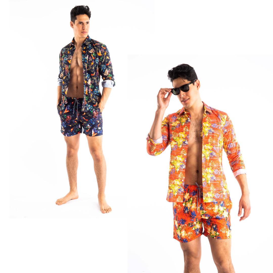 printed shirt and shorts for men