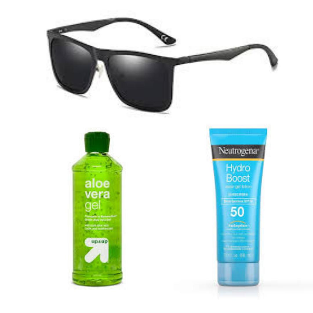 black sun glass and alovera gel
