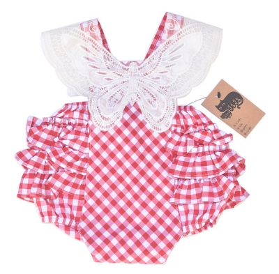 MiniJiji Red and White Gingham Butterfly Romper