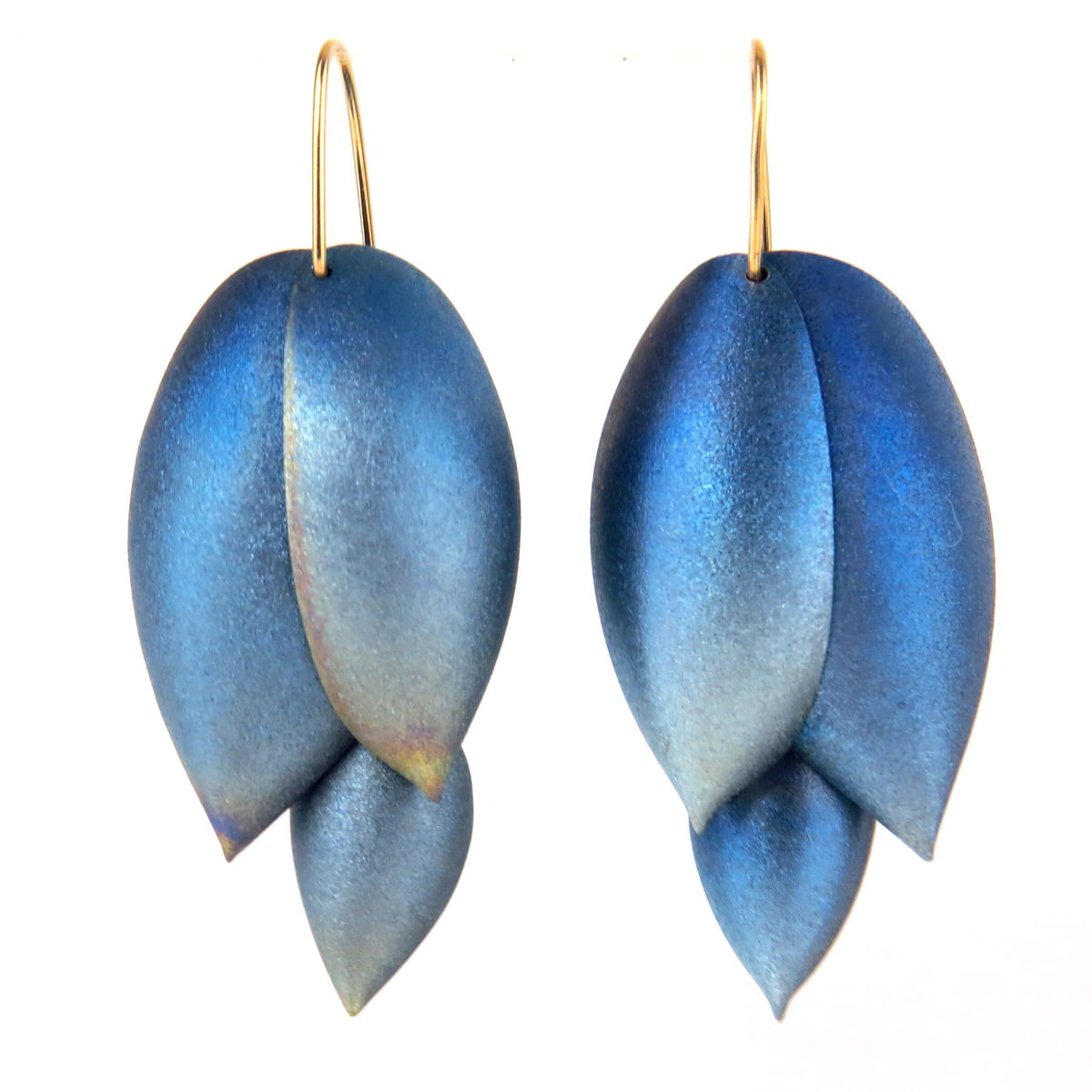 Niobium and 14k Gold Asparagus earrings by Ted Muehling