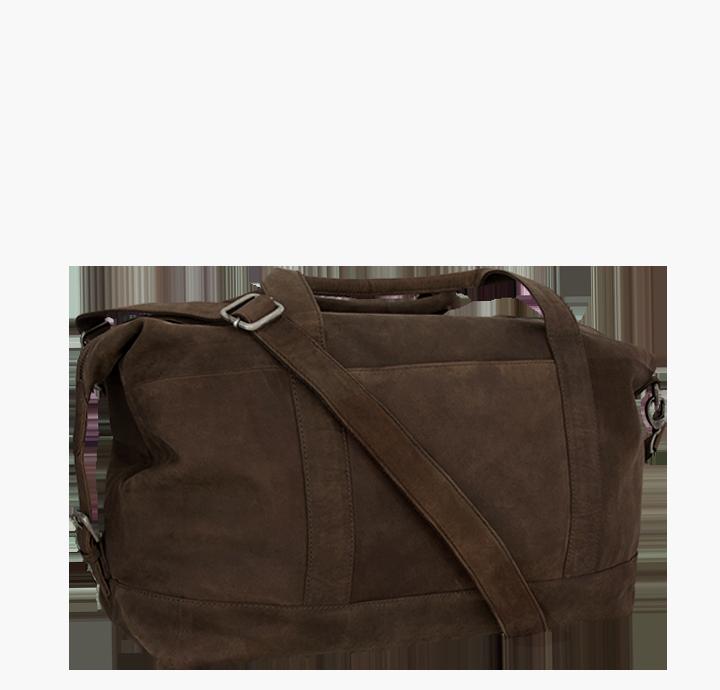 Smart og flot rejsetaske i læder lille rejsetaske weekendtaske i rustikt læder til mænd og kvinder stilrent og praktisk dansk design fra Birkmond taskebutik i Aarhus