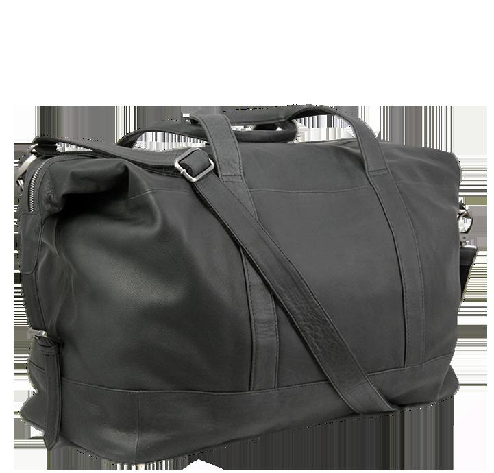 Enkel og praktisk rejsetaske i sort vegetabilsk garvet læder læderrejsetaske weekendtaske til kvinder og mænd i tidsløst dansk design fra Aarhus taskebutik Birkmond