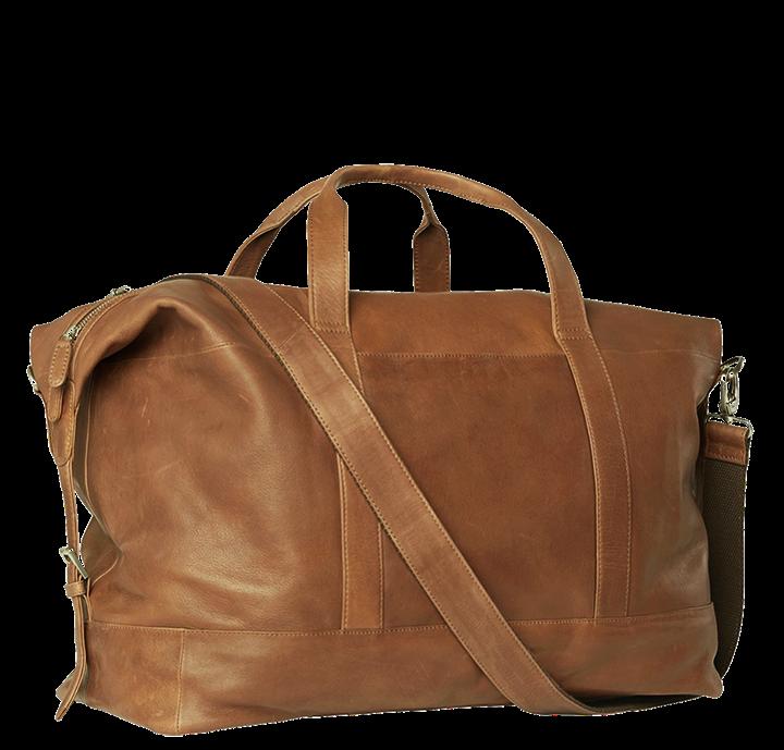 Stor rejsetaske i brunt vegetabilsk garvet læder fra Birkmond flot og enkelt dansk design weekendtaske til mænd og kvinder