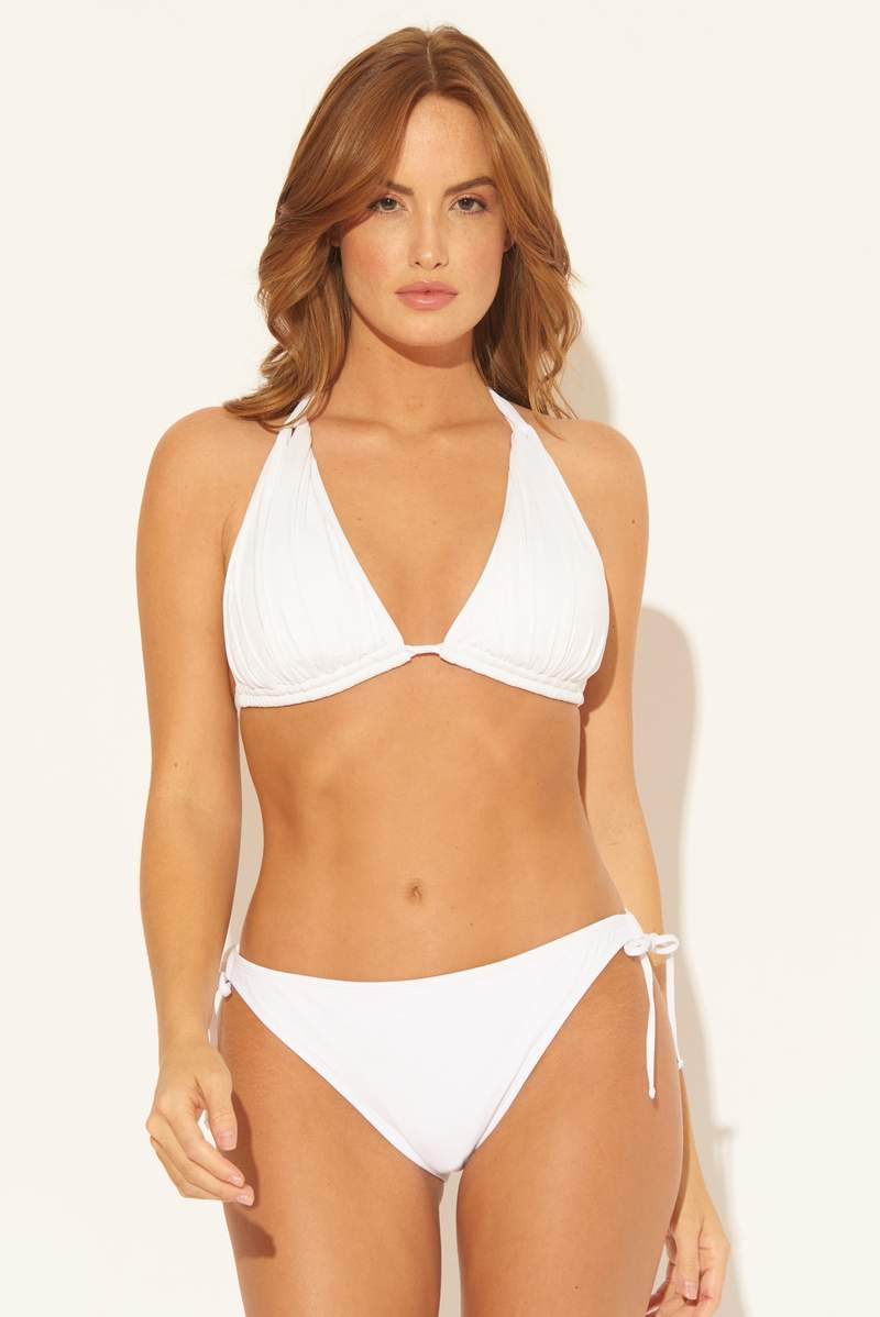 TWIST HALTER TRIANGLE TOP - WHITE