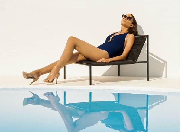 Model by Pool in a Navy One-Piece by Bleu Rod Beattie